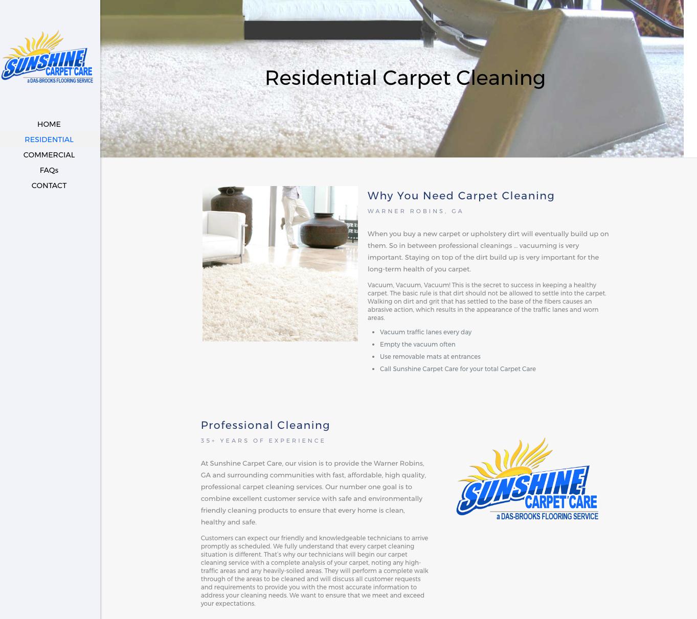 Creative Webdesign Warner Robins Sunshine Carpet Care